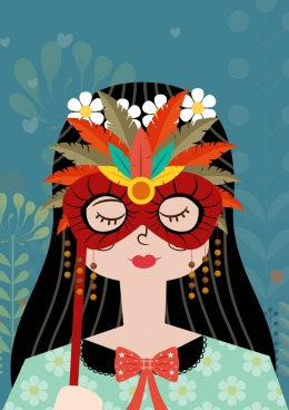 woman portrait drawing feathers mask decoration