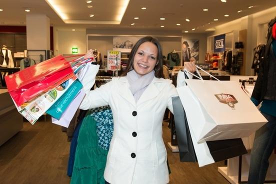 woman shopping happy