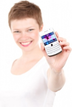 woman showing a cell phone