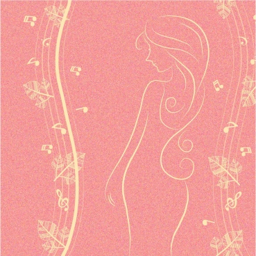 woman sketch background design flowers music notes decoration