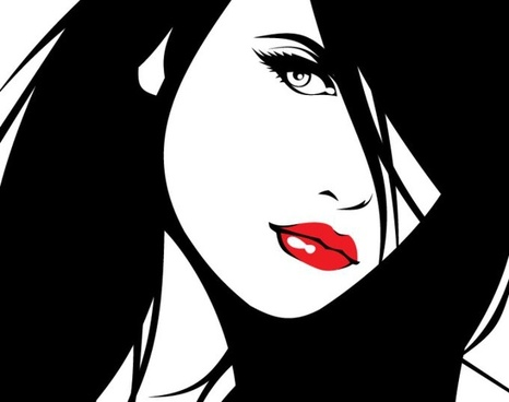 beautiful woman drawing closeup cartoon design