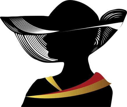 woman wearing hat vector illustration with silhouette style