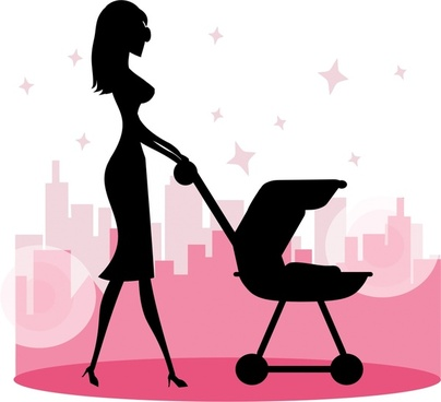 woman with baby carriage illustration with silhouette style