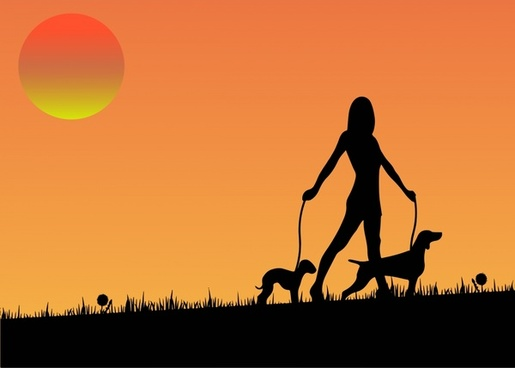 woman with dogs illustration with sunset silhouette style