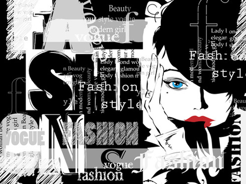 woman with fashion elements template vector