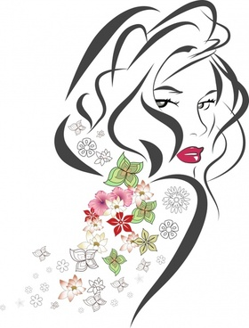 woman drawing flowers decor curves sketch