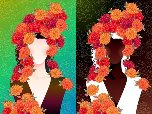 woman with flowers vector 2