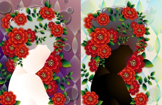woman with flowers vector 4