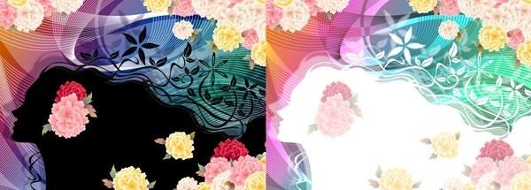 woman with flowers vector 5