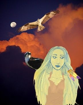 woman with hawks