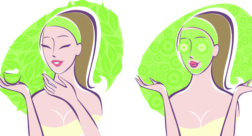 woman with spa salon elements vector
