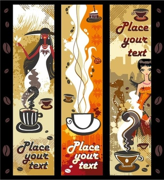 women and coffee theme vector