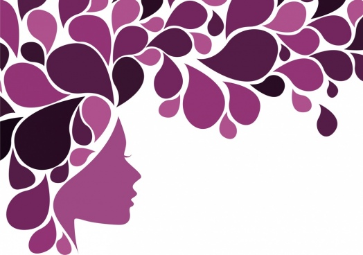 women and flowers background violet silhouette curves design