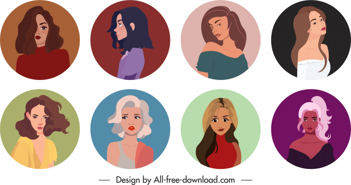 women avatar templates collection young ladies sketch