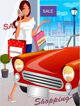 lifestyle background shopping woman icon cartoon character