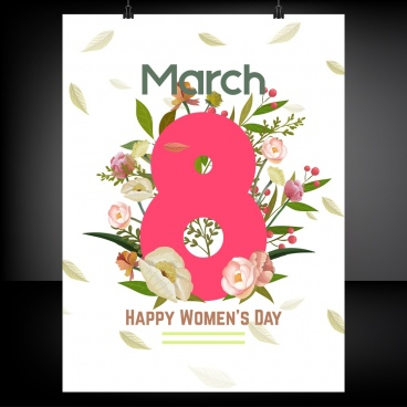 women day banner flowes number decor