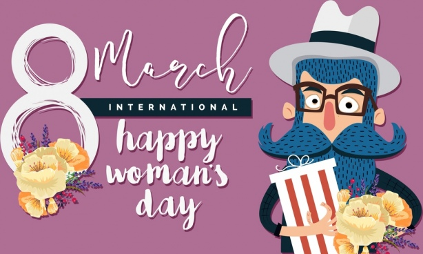 women day banner old man gift flowers icons