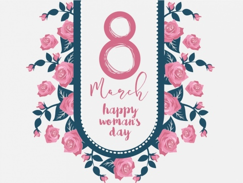 women day banner pink decor blooming roses icon