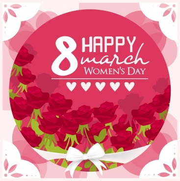 women day banner red roses decor circle isolation