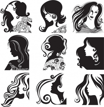 woman hairstyle icons black white classical sketch