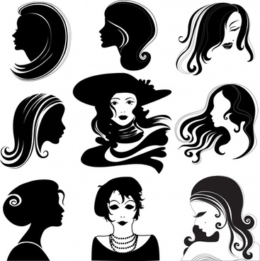 woman hairstyle avatars black white silhouette sketch