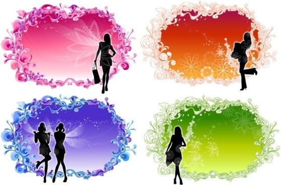 women lace pattern vector fashion