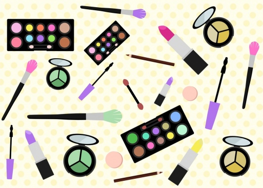 women make up tools design various colored icons