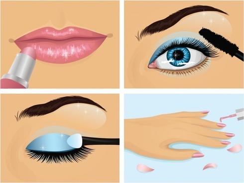 beauty makeup background eye lips hand icons decor