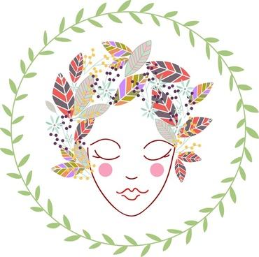 women portrait sketch design with decorative leaves