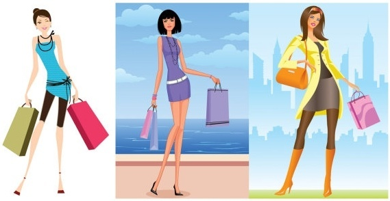 women vector fashion shopping