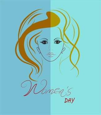 womens day decoration template design with portrait sketch