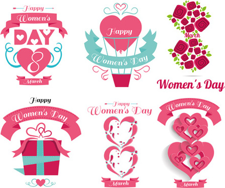 womens day flower labels set