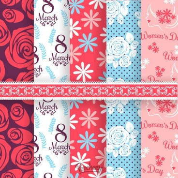 womens day seamless pattern set