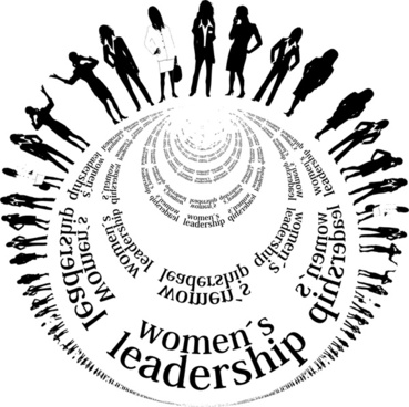 womens leadership vector illustration with circle silhouettes style