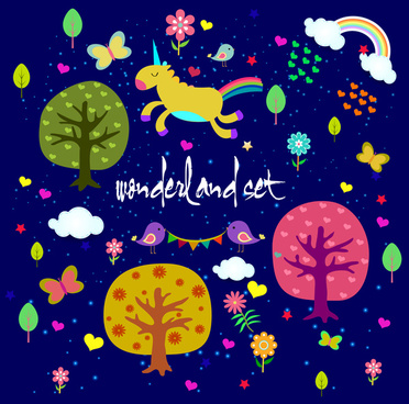 wonderland pattern design with colorful cartoon style