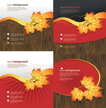 wood and maple leaf vector