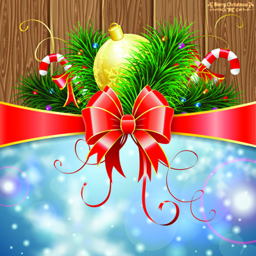 wood board and red ribbon christmas background vector