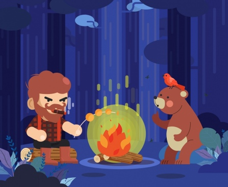 wood life painting lumberjack bear fire icons