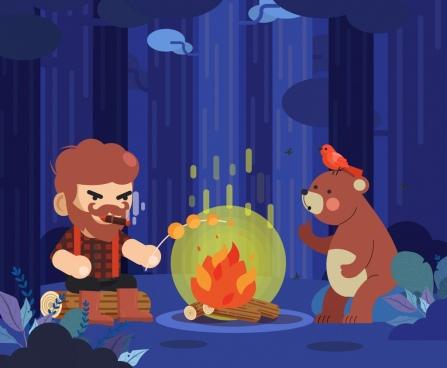 wood life painting lumberjack bear fire icons