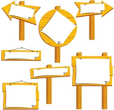 wood signboards collection various shapes blank types