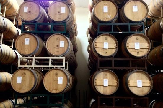 wood wine barrel stacked