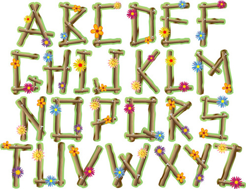 wood with flower alphabet vector