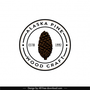 woodcraft logo template classic flat circle design