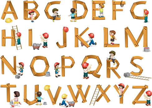 wooden alphabet with child vector