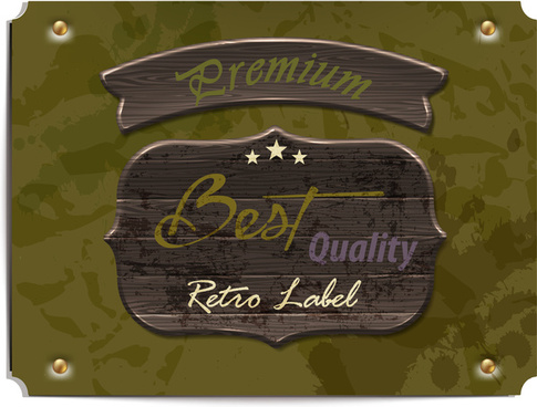 wooden banner premium and quality label
