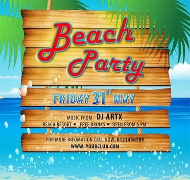 wooden beach party poster vector