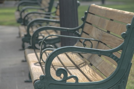 wooden benches in a row
