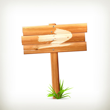 wooden board with grass vector