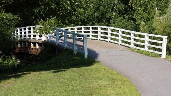 wooden bridge white bridge bridge parapets