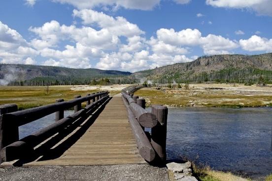 wooden bridge yellowstone river wyoming
